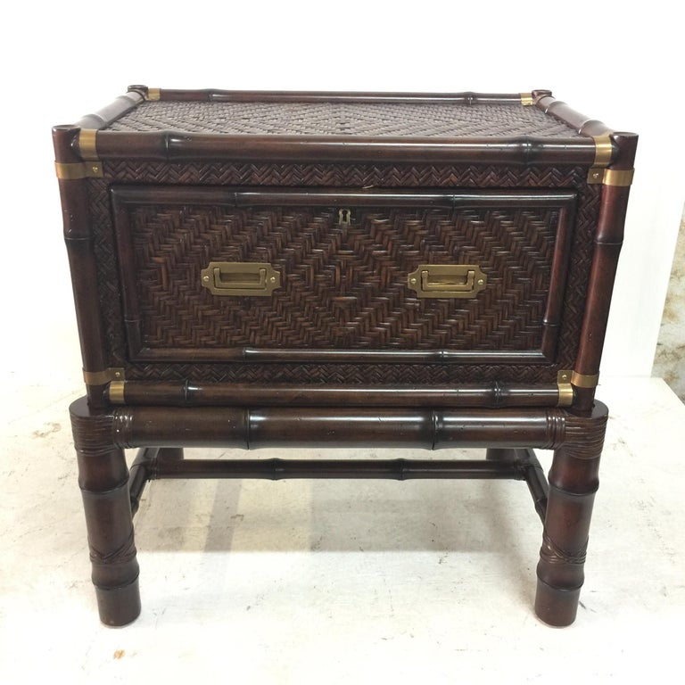 Pair of Island Colonial Style Ralph Lauren Faux Bamboo Cabinets For Sale 3