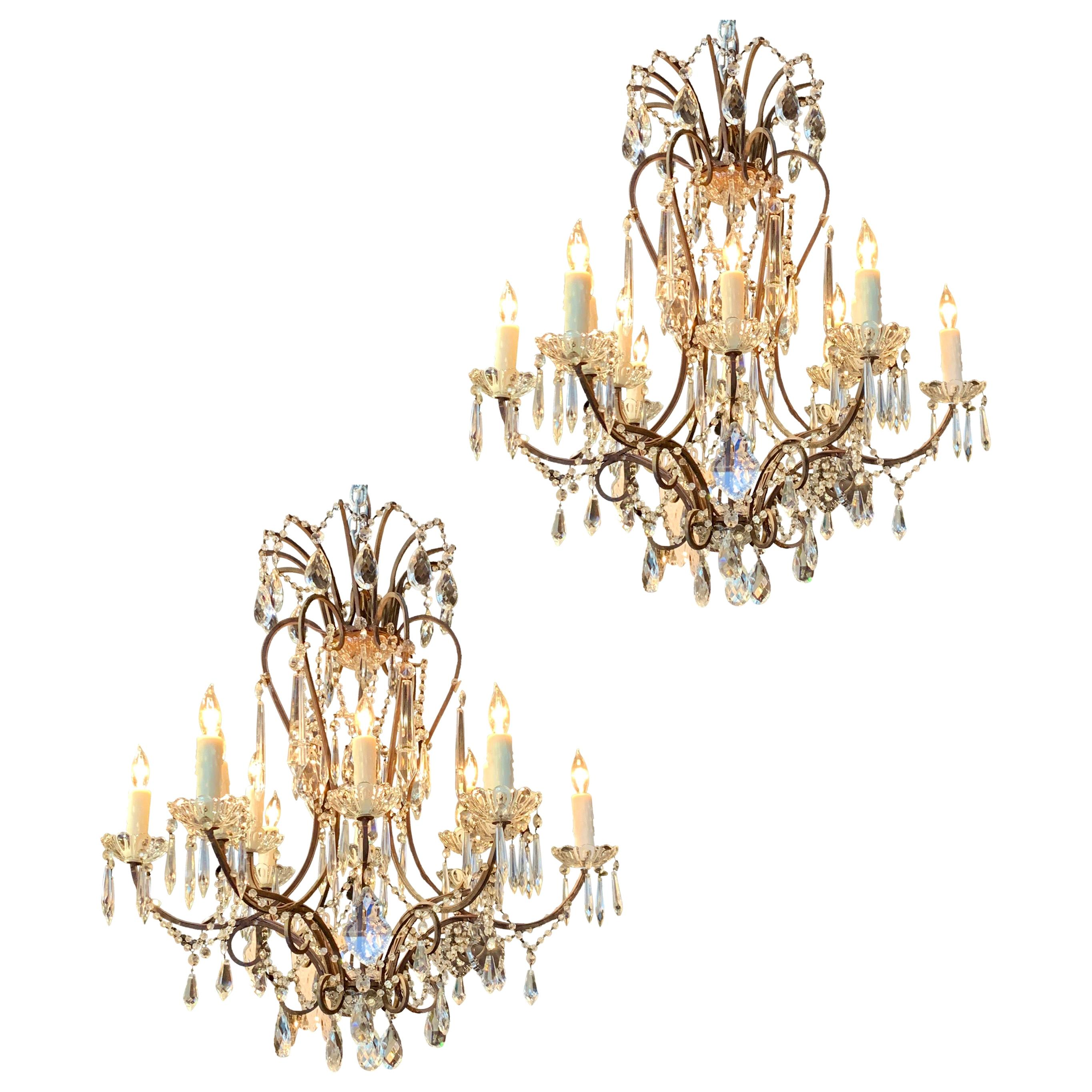 Pair of Italian 12-Light Beaded Crystal Chandeliers