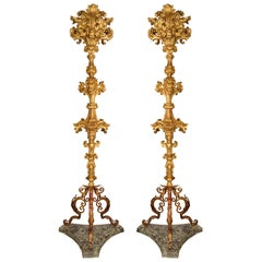 Pair of Italian 17th Century Baroque Period Giltwood Floor Lamps