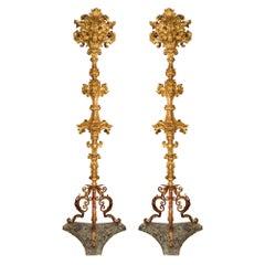 Pair of Italian 17th Century Baroque Period Giltwood Floor Lamps