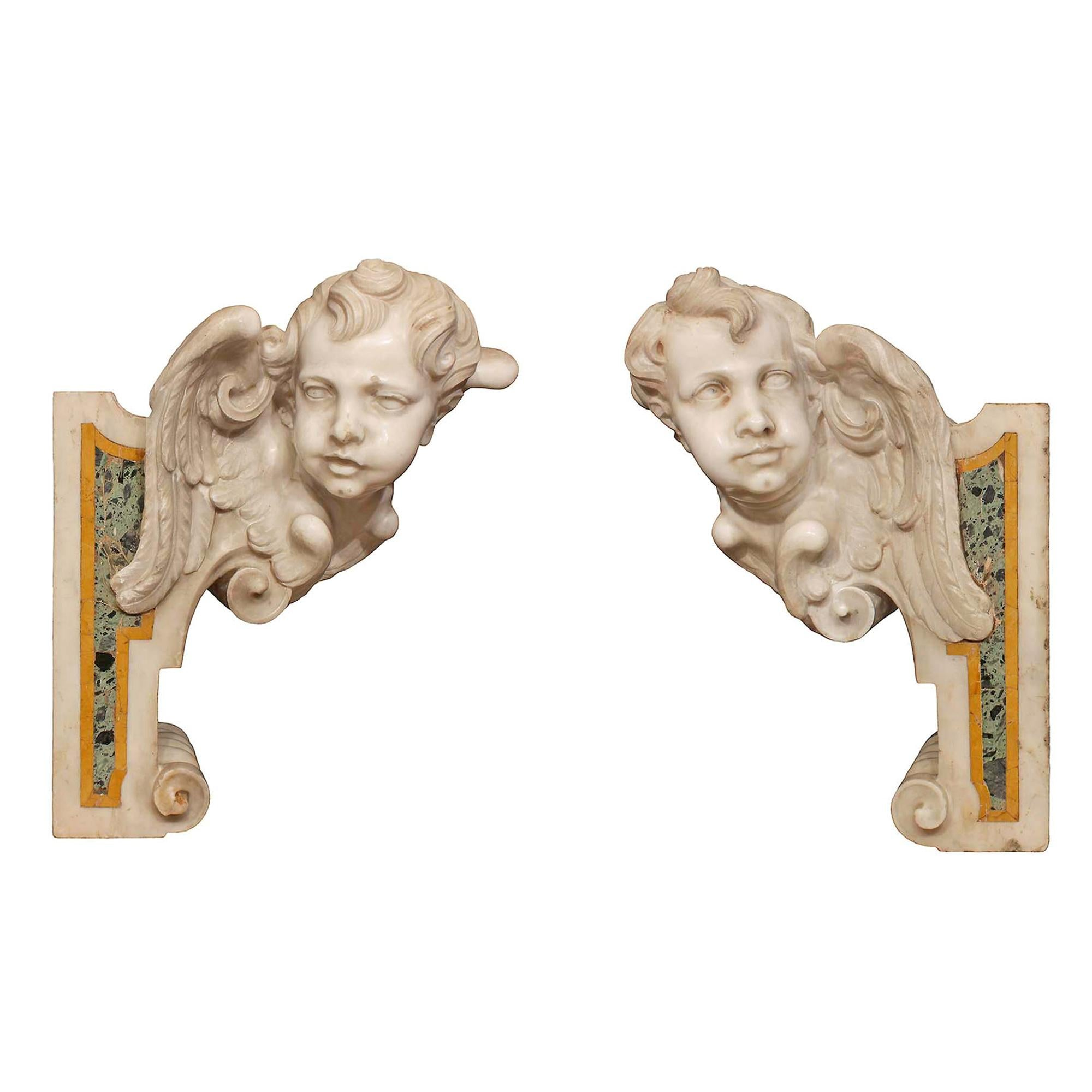 Pair of Italian 17th Century Baroque Period Marble Architectural Elements