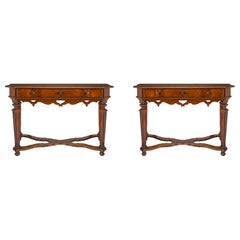 Pair of Italian 17th Century Louis XIV Period Console or Center Tables