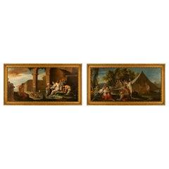 Pair of Italian 17th Century Oil on Canvas Paintings by Antonio Travi