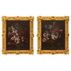 Pair of Italian 17th Century Oil on Canvas Paintings in Their Original Frames