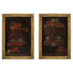 Pair of Italian 17th Century Oil Painted on Wood Still Life Paintings