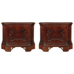 Pair of Italian 17th Century Solid Walnut Tuscan Cabinets