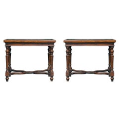 Pair of Italian 17th Century Walnut and Marble Side Tables