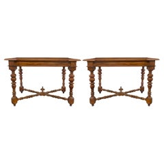 Pair of Italian 17th Century Walnut Side Tables from Luca