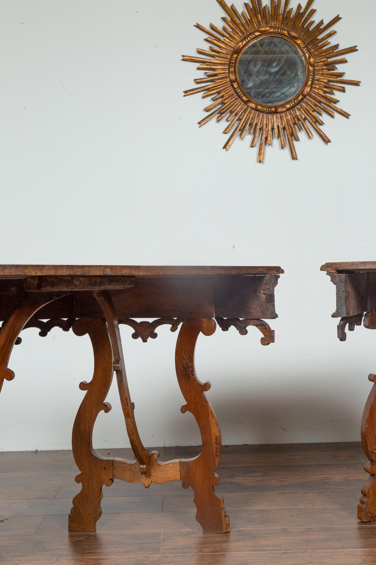 Pair Of Italian Mid 1800's Walnut Demi Lune Tables With