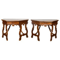 Pair of Italian 1900s Baroque Style Walnut Demilune Tables with Lyre Shaped Legs