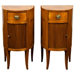 Pair of Italian 1800s Walnut Demilune Bedside Tables with Tambour Doors