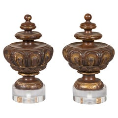 Pair of Italian 1800s Walnut Fragments Carved All the Way Around, with Lucite