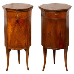 Pair of Italian 1800s Walnut Side Tables with Octogonal Tops, Drawers and Doors