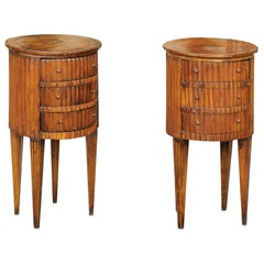 Pair of Italian 1820s Neoclassical Fluted End Tables with Marquetry Decor