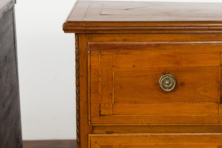 Pair of Italian 1820s Neoclassical Period Walnut Bedside Tables with Two Drawers For Sale 9