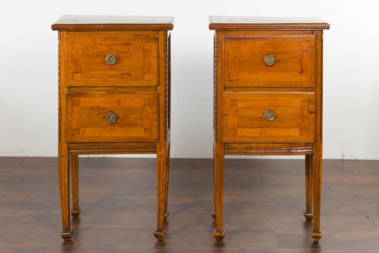 Pair of Italian 1820s Neoclassical Period Walnut Bedside Tables with Two Drawers For Sale 1