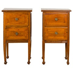 Pair of Italian 1820s Neoclassical Period Walnut Bedside Tables with Two Drawers