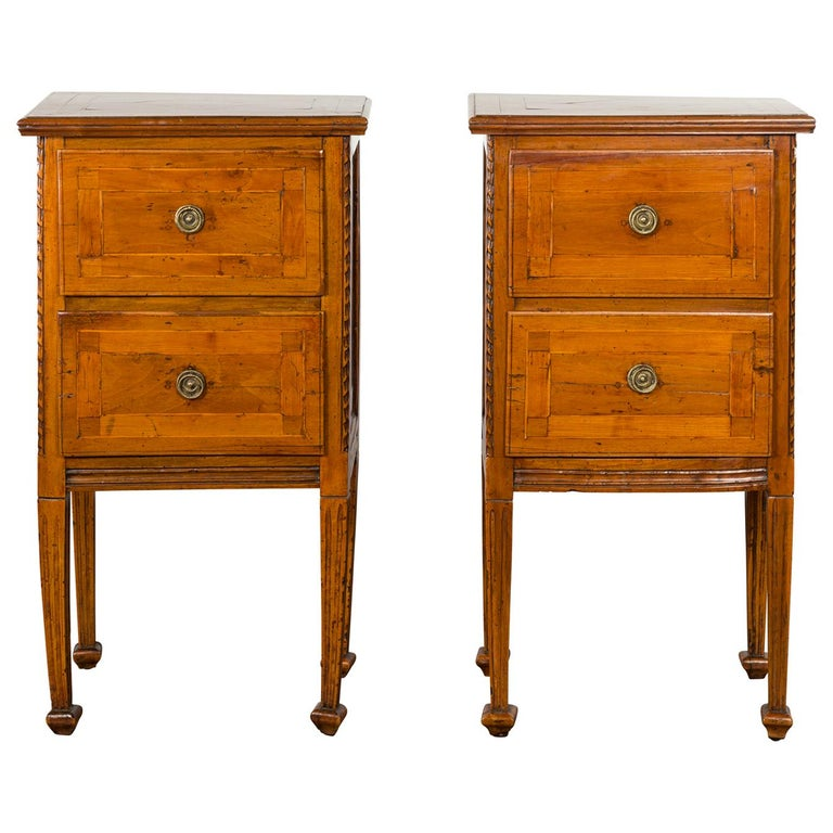 Pair of Italian 1820s Neoclassical Period Walnut Bedside Tables with Two Drawers For Sale