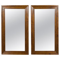Pair of Italian 1820s Walnut Rectangular Brown Mirrors with Gilded Accents