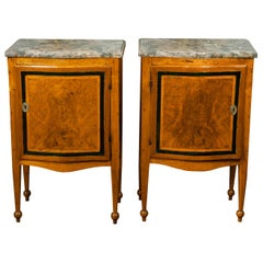 Pair of Italian 1840s Walnut Tables with Variegated Marble Top and Single Door