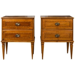 Pair of Italian 1850s Neoclassical Style Walnut Two-Drawer Commodes with Inlay
