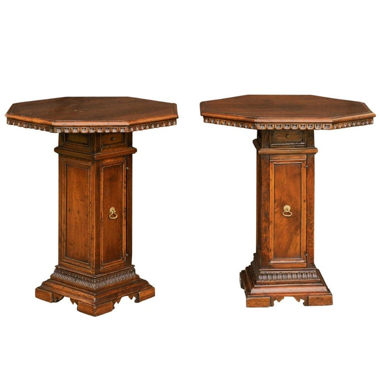 Pair of Italian 1850s Walnut Octagonal Pedestal Carved Tables with Single Door For Sale