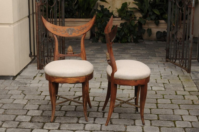 Pair of Italian 1860s Upholstered Side Chairs with Crescent Backs and Saber Legs For Sale 5
