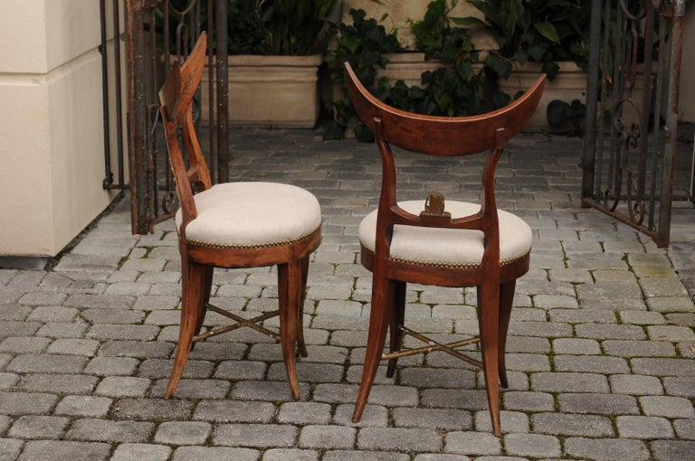 Pair of Italian 1860s Upholstered Side Chairs with Crescent Backs and Saber Legs For Sale 6