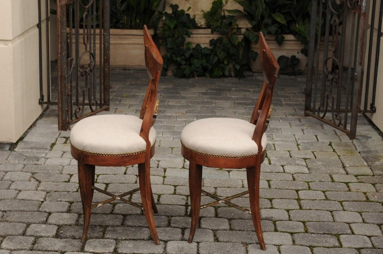 Pair of Italian 1860s Upholstered Side Chairs with Crescent Backs and Saber Legs For Sale 7