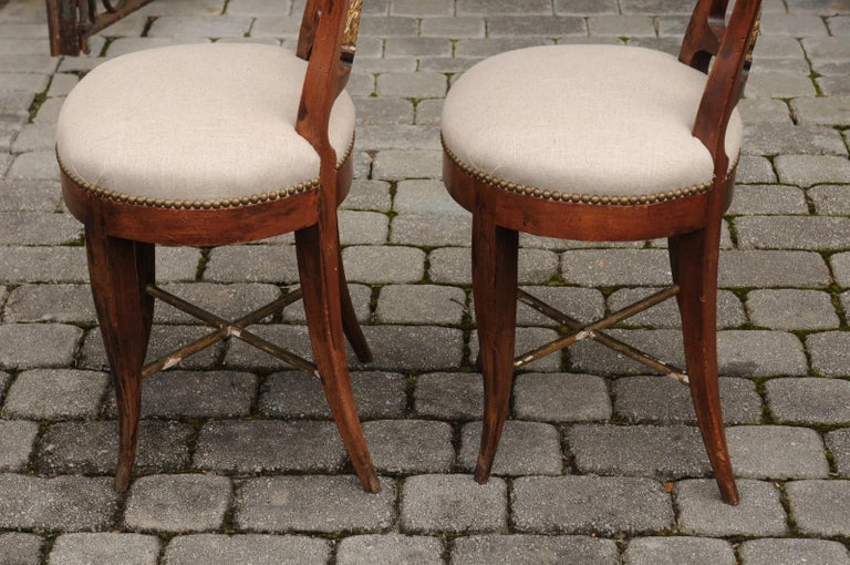 Pair of Italian 1860s Upholstered Side Chairs with Crescent Backs and Saber Legs For Sale 8