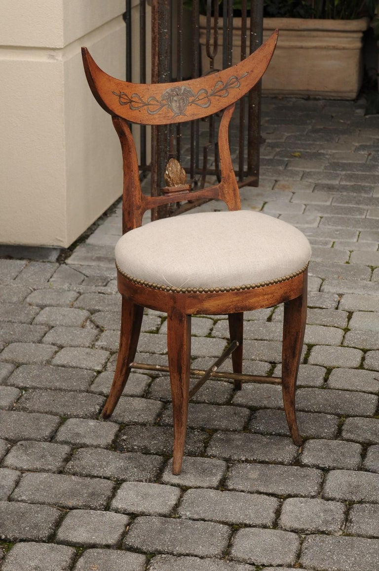 19th Century Pair of Italian 1860s Upholstered Side Chairs with Crescent Backs and Saber Legs For Sale