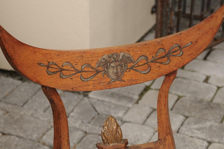 Upholstery Pair of Italian 1860s Upholstered Side Chairs with Crescent Backs and Saber Legs For Sale