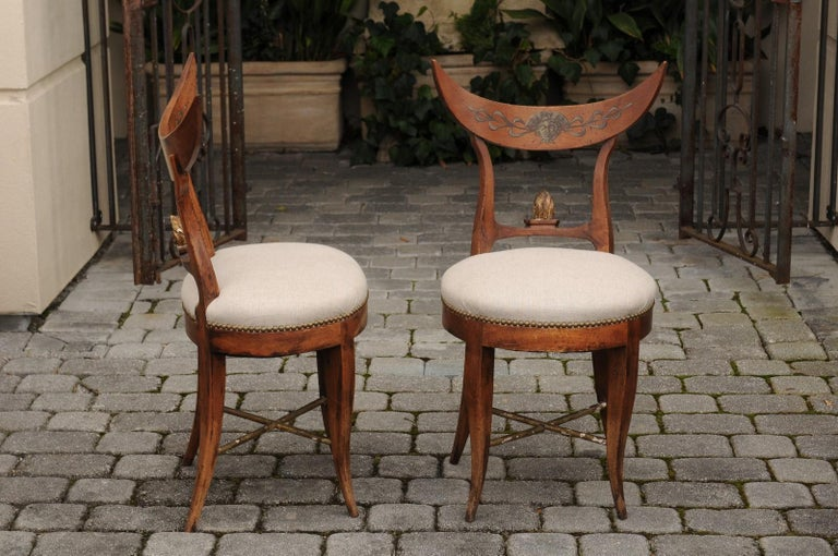 Pair of Italian 1860s Upholstered Side Chairs with Crescent Backs and Saber Legs For Sale 2
