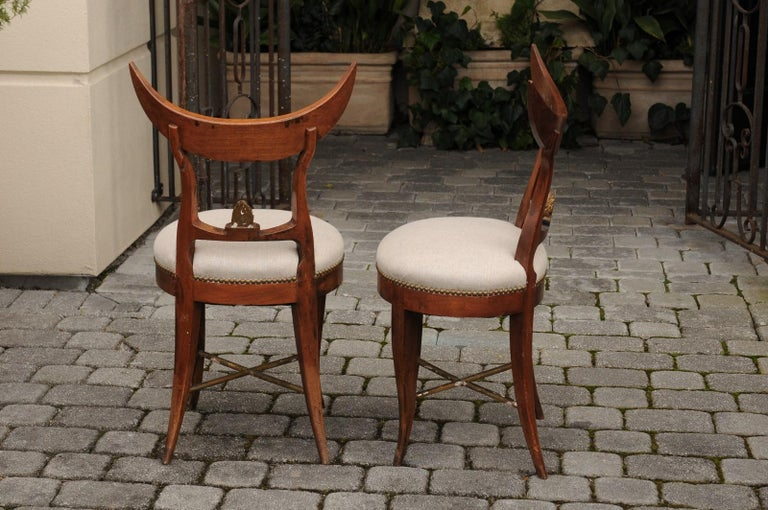 Pair of Italian 1860s Upholstered Side Chairs with Crescent Backs and Saber Legs For Sale 3
