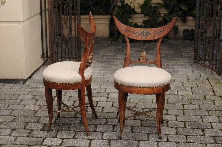 Pair of Italian 1860s Upholstered Side Chairs with Crescent Backs and Saber Legs For Sale 4