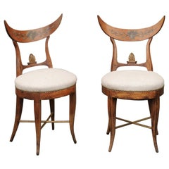 Pair of Italian 1860s Upholstered Side Chairs with Crescent Backs and Saber Legs