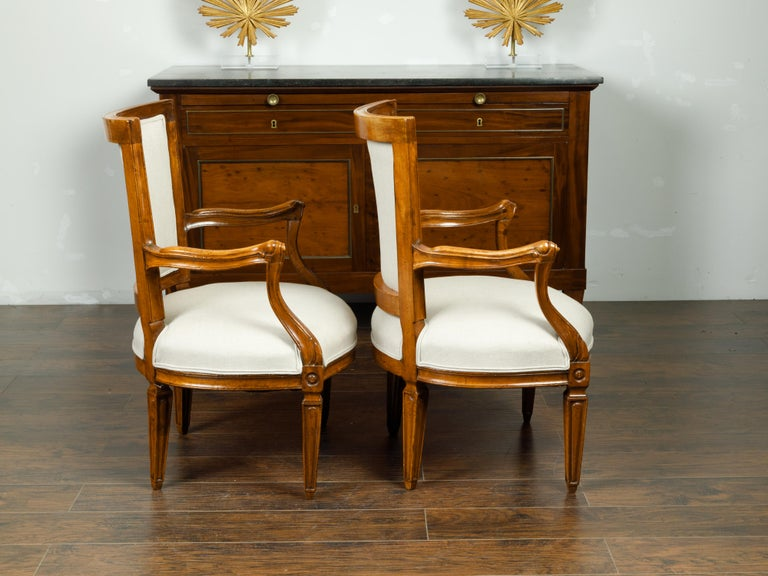 19th Century Pair of Italian 1860s Walnut Armchairs with Tapered Legs and New Upholstery For Sale