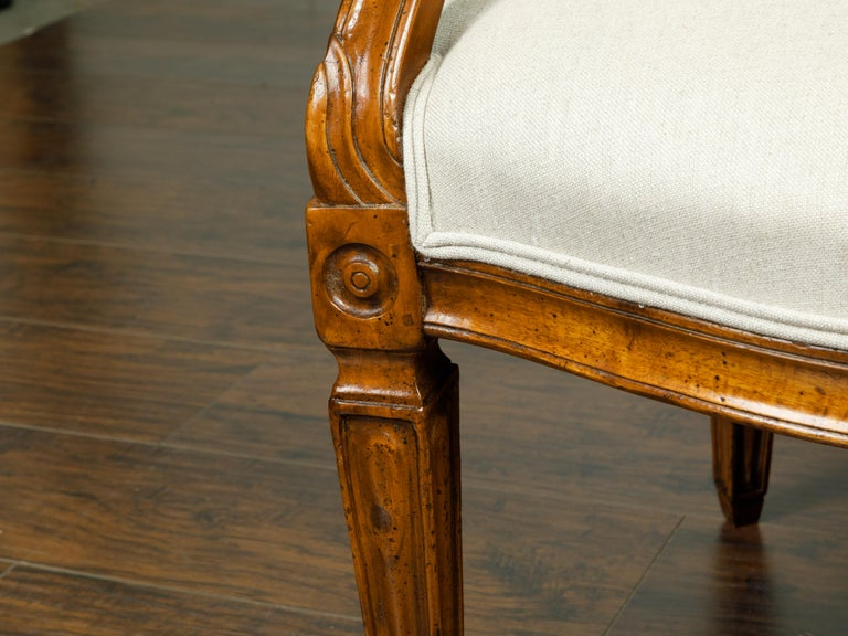 Pair of Italian 1860s Walnut Armchairs with Tapered Legs and New Upholstery For Sale 3