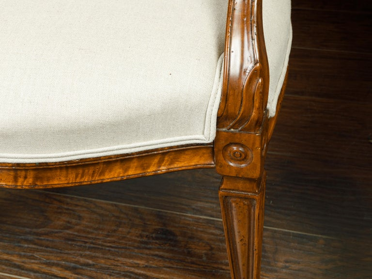 Pair of Italian 1860s Walnut Armchairs with Tapered Legs and New Upholstery For Sale 4