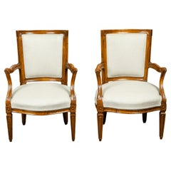 Pair of Italian 1860s Walnut Armchairs with Tapered Legs and New Upholstery