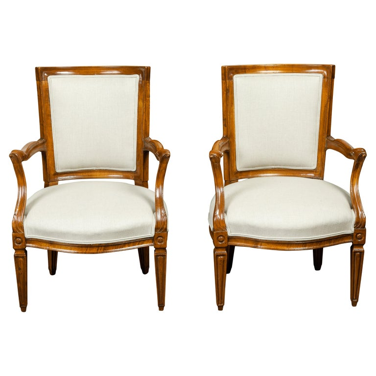 Pair of Italian 1860s Walnut Armchairs with Tapered Legs and New Upholstery For Sale