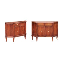 Pair of Italian 1875 Walnut Credenzas with Canted Sides, Drawers and Doors