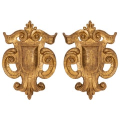 Pair of Italian 18th Century Baroque Carved Mecca Decorative Wall Decor