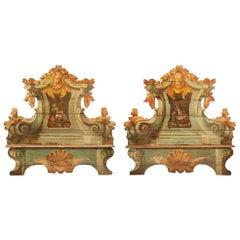 Pair of Italian 18th Century Baroque Cassapanca Polychrome Benches