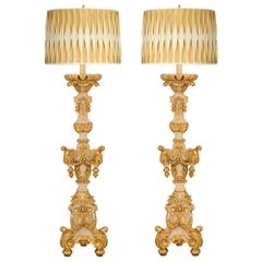 Pair of Italian 18th Century Baroque Period Patinated and Giltwood Floor Lamps