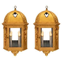 Pair of Italian 18th Century Baroque Style Giltwood Lanterns