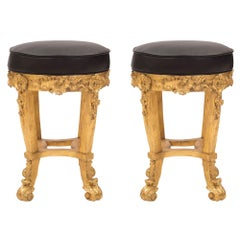 Pair of Italian 18th Century Baroque Style Giltwood Stools