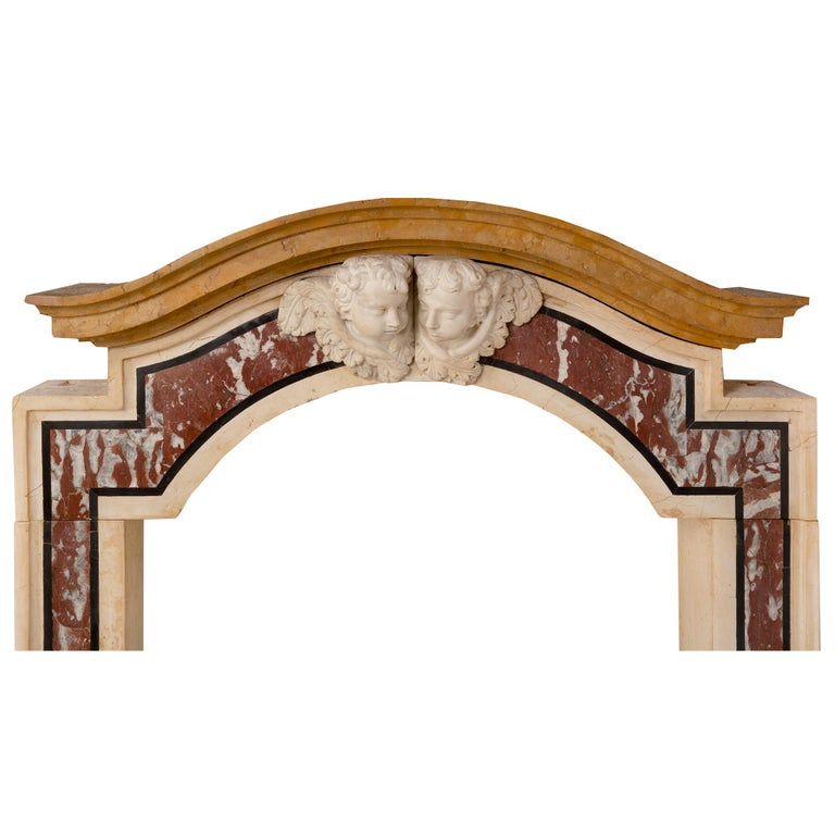 18th Century and Earlier Pair of Italian 18th Century Baroque Style Marble Portals/Surrounds For Sale