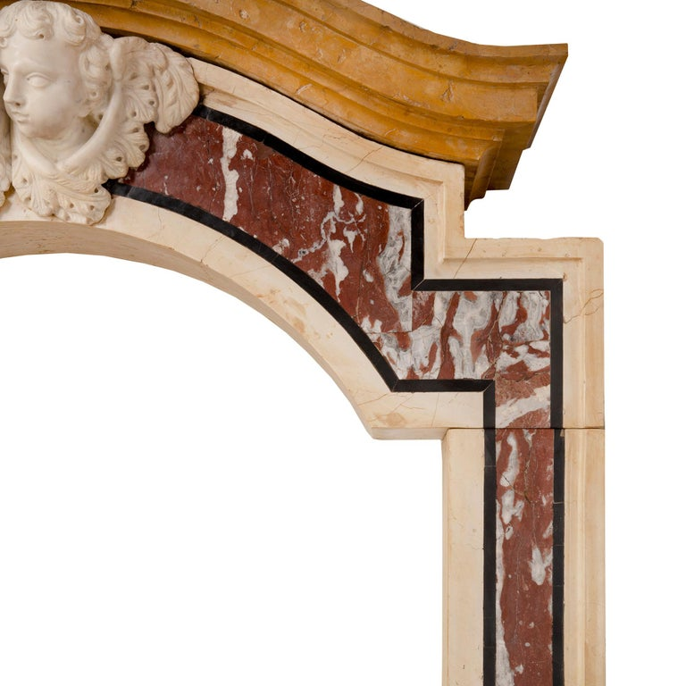 Pair of Italian 18th Century Baroque Style Marble Portals/Surrounds For Sale 4
