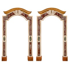 Pair of Italian 18th Century Baroque Style Marble Portals/Surrounds